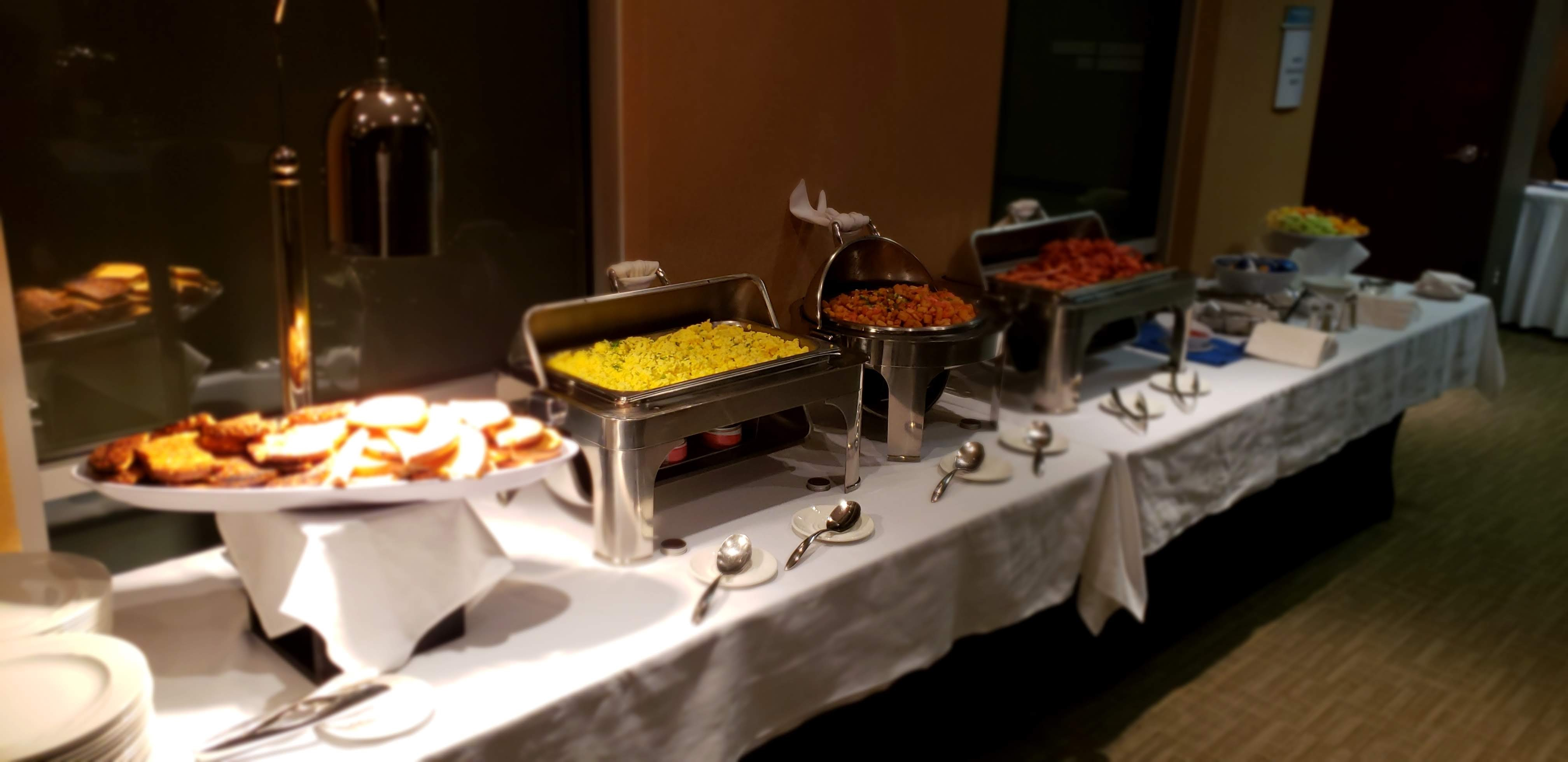 breakfast buffet with eggs